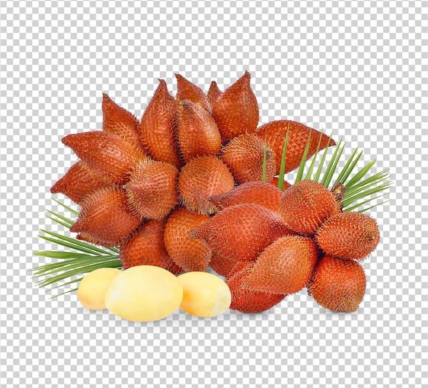 Salacca o zalacca frutta con foglie isolate psd premium