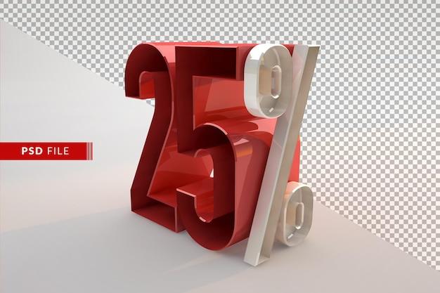 Vendita 25 percento di sconto concetto isolato 3d promozionale