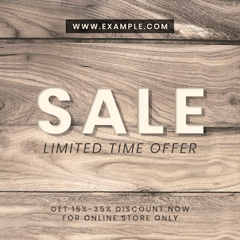 Modello instagram strutturato in legno di annuncio di vendita