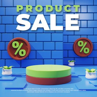 Modello di promozione sconto vendita, podio vuoto