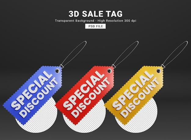 Vendita tag 3d rendering premium psd