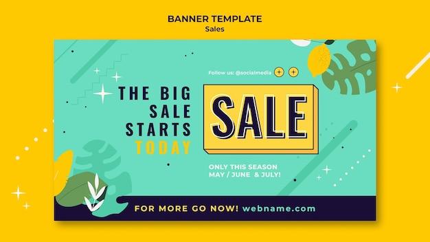 Modello di banner di vendita con colori vivaci