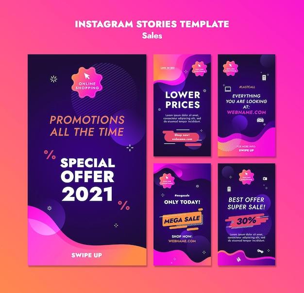 Le vendite offrono storie di instagram