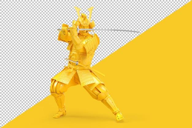 Guerriero samurai con spada katana in rendering postura difensiva