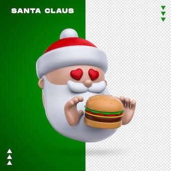 Babbo natale burger rendering 3d isolato
