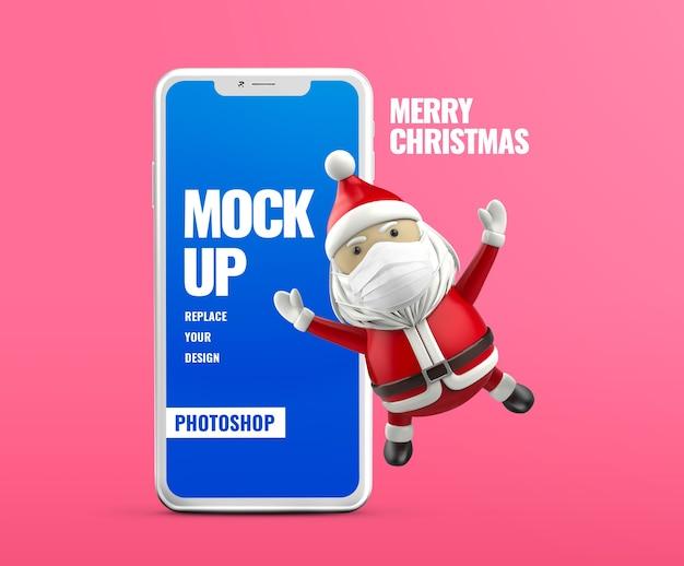 Mockup di banner pubblicitario mobile di babbo natale
