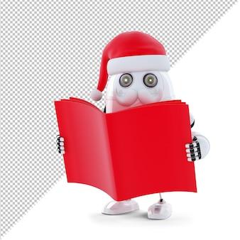 Robot di babbo natale che legge un libro. concetto di natale