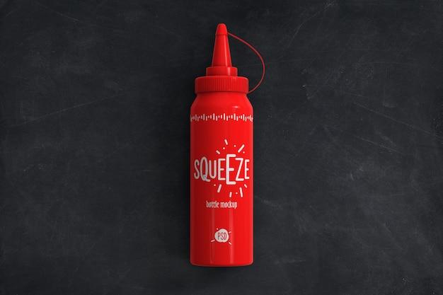 Mockup di vista dall'alto della bottiglia di salsa