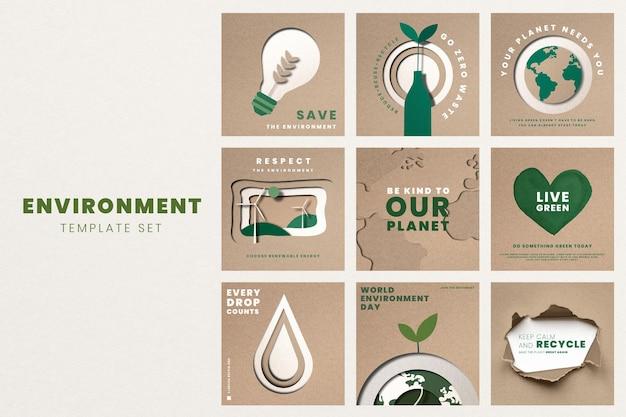 Salva i modelli del pianeta psd per il set di campagne per la giornata mondiale dell'ambiente