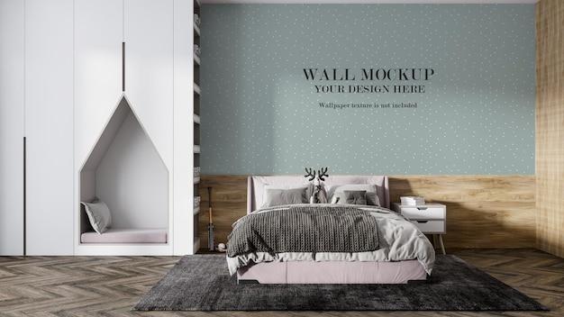 Design scandinavo del mockup della parete della camera da letto