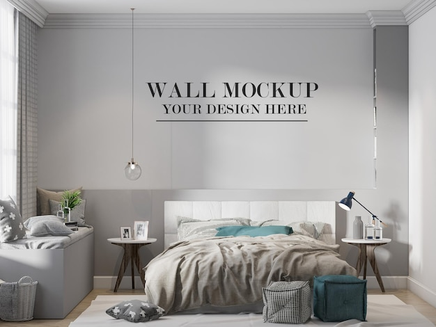 Mockup della parete della camera da letto di design scandinavo