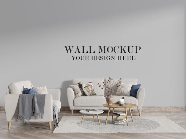 Mockup di parete del soggiorno in stile scandinavo