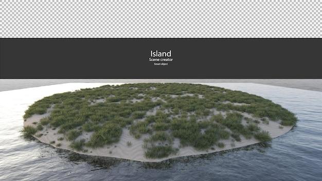 Erba sparsa su un piccolo cumulo di sabbia sul rendering del fiume isolato