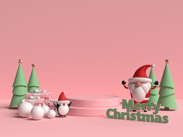 Scena del podio di natale con confezione regalo e pinguino in rendering 3d