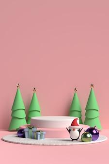 Scena del podio di natale con confezione regalo e pinguino su sfondo rosa in rendering 3d