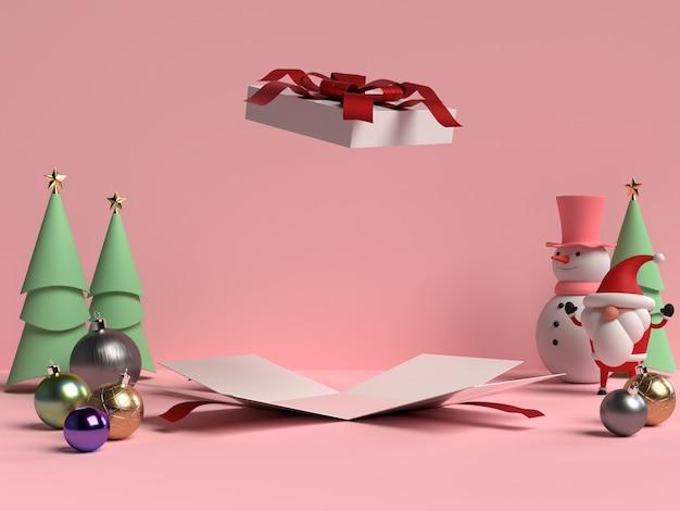 Scena del podio di natale con babbo natale e confezione regalo aperta in rendering 3d
