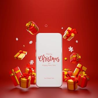 Scena di smartphone con regalo di natale per lo shopping di pubblicità online, illustrazione 3d