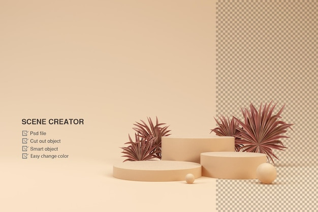 Scena con podio e foglie per l'esposizione del prodotto