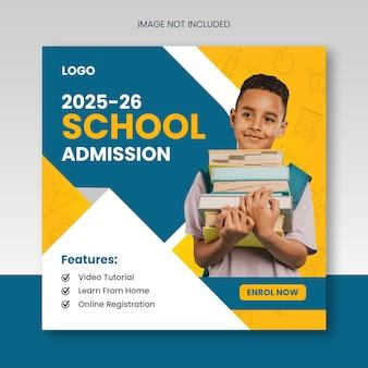 Ammissione scolastica o ritorno a scuola post sui social media educativi o banner scudiero