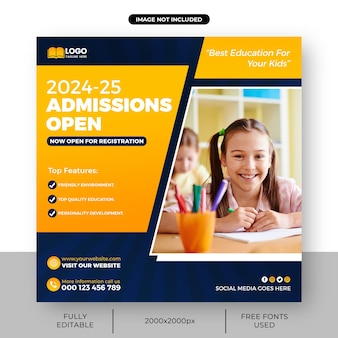 Banner di ammissione alla scuola o modello quadrato di ammissione apri il modello di post sui social media