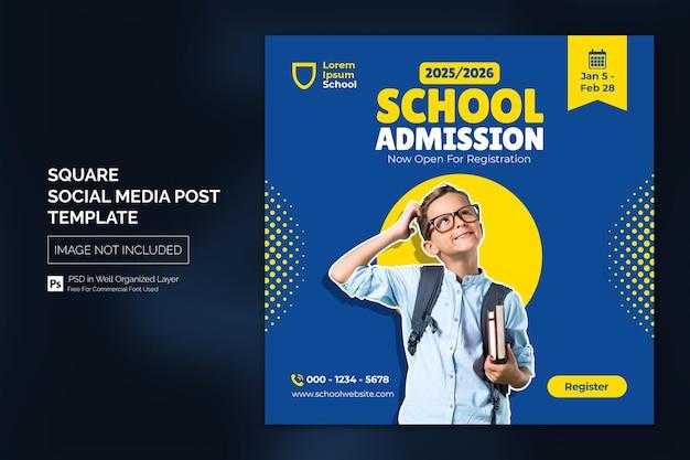 Modello di banner web post di social media per l'istruzione di ammissione alla scuola