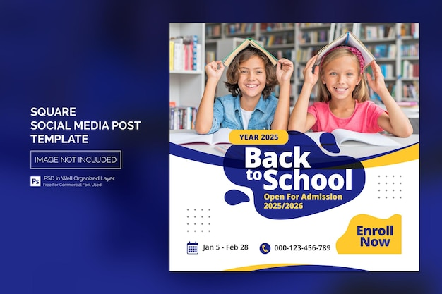 Modello di banner web post di social media per l'istruzione di ammissione alla scuola Psd Premium