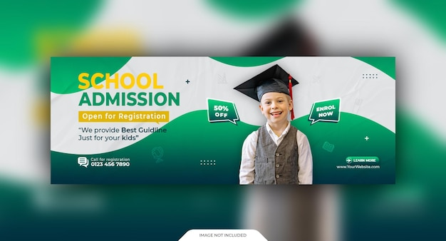 Modello di copertina sociale e banner web per l'ammissione alla scuola