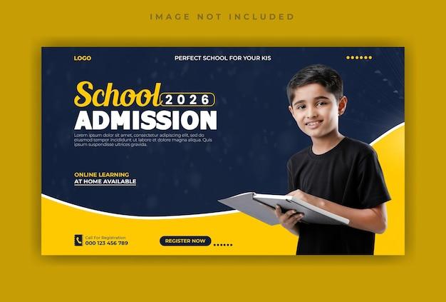 Modello di copertina di facebook per i social media di ammissione alla scuola