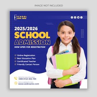 Modello di post sui social media o di volantino quadrato per l'ammissione alla scuola