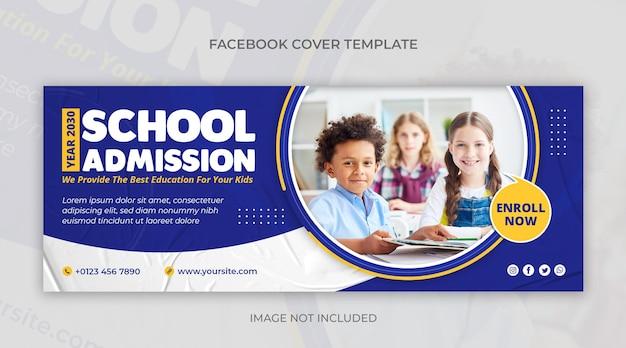 Banner web di social media per l'ammissione alla scuola e modello di copertina di facebook