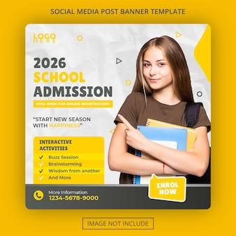 Post di social media e banner web per l'ammissione all'istruzione scolastica psd premium Psd Premium