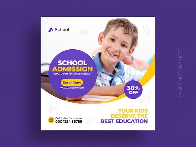 Post di social media ammissione all'istruzione scolastica e modello di banner web