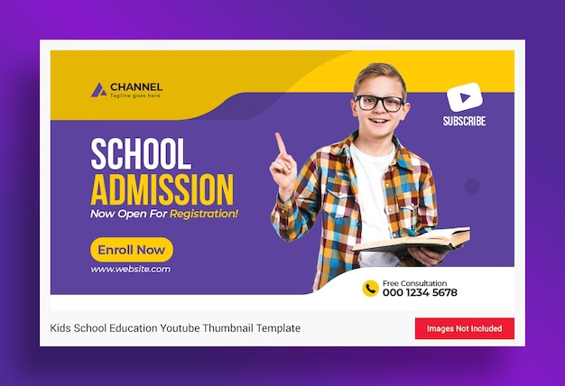 Miniatura di youtube per l'ammissione all'istruzione scolastica e modello di banner web
