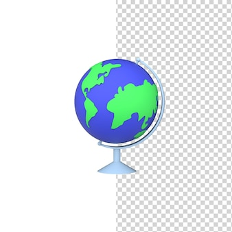 Scuola globus 3d rendering icona modello sfondo isolato