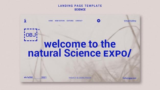 Modello di pagina di destinazione della scienza