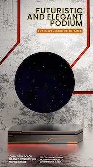 Scifi metal podio con scena del cielo notturno