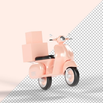 Rendering 3d isolato consegna scooter