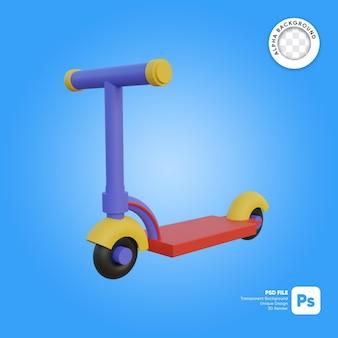 Oggetto 3d con aspetto frontale in stile cartone animato per bambini in scooter