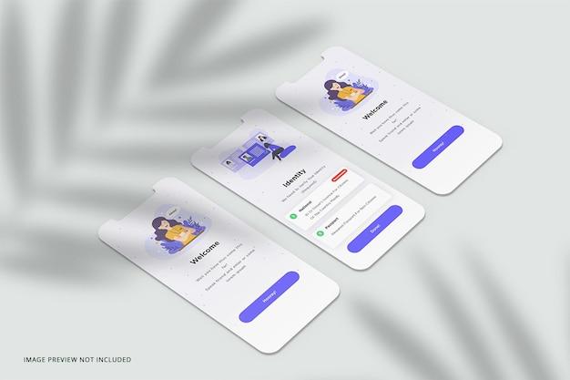 Mockup di presentazione dell'app per schermo del telefono Psd Premium