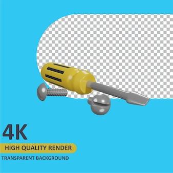 Cacciavite e bullone rendering di cartoni animati modellazione 3d