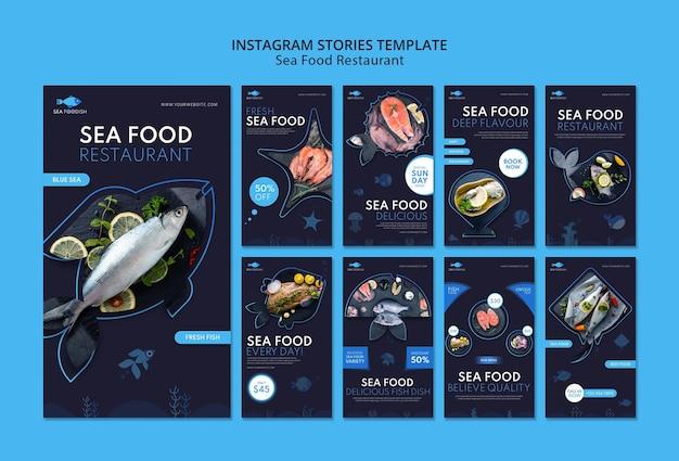 Modello di storie di instagram di concetto di frutti di mare