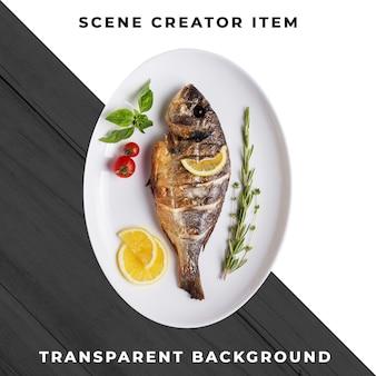 Pasto di pesce trasparente psd