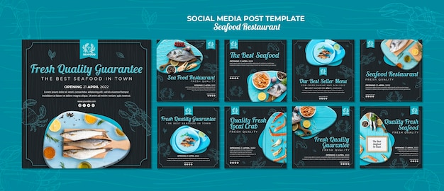Post sui social media del ristorante di pesce