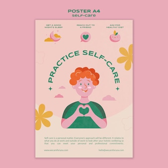 Modello di poster per la pratica della cura di sé