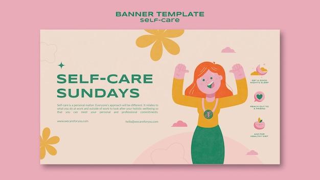 Modello di banner di auto-cura della domenica
