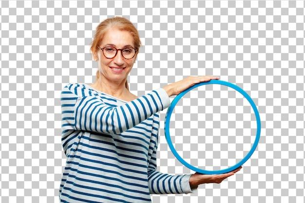 Senior bella donna con una cornice