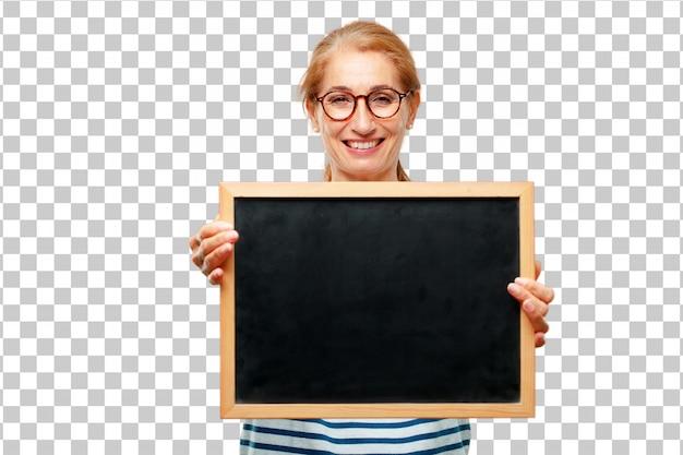 Senior bella donna con un cartello