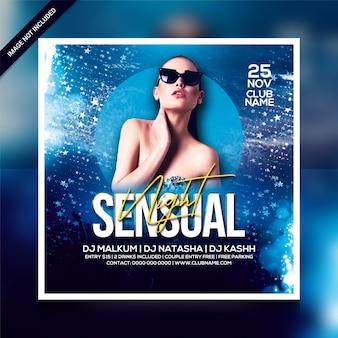 Volantino festa notturna sensuale o modello di poster quadrato
