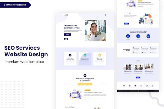 Modello di progettazione della pagina del sito web di servizi di seo