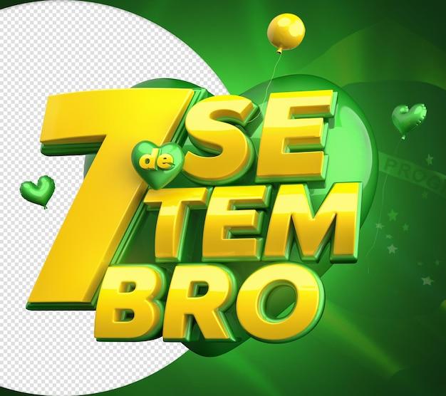 7 settembre independncia do brasil 3d timbro per composizione data commemorativa
